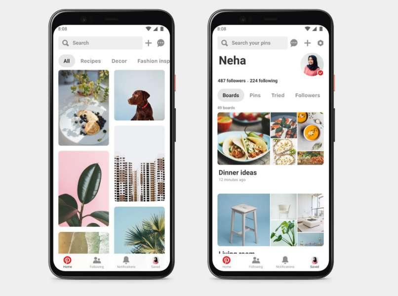aplikacja mobilna na pintereście